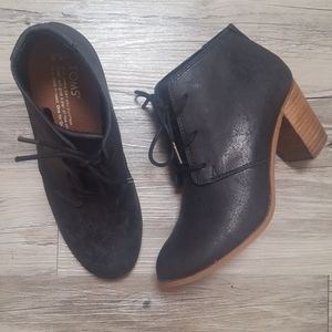 Toms Charcoal Textured Lace-Up Bootie